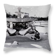 Snow On The Fountain Throw Pillow