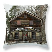 Snow On The General Store Throw Pillow