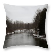 Snow On The Manistee River Throw Pillow