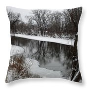 Snow On The River Throw Pillow
