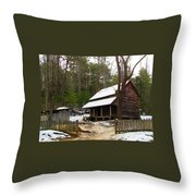 Snow On The Roof Top Throw Pillow