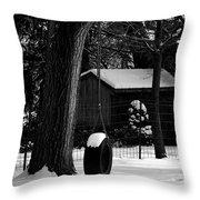 Snow On Tire Swing Throw Pillow
