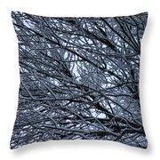 Snow On Twigs Throw Pillow