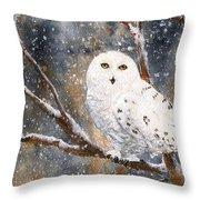 Snow Owl - Canada Throw Pillow