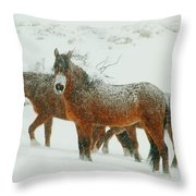 Snow Paints  Throw Pillow by Jeanne  Bencich-Nations