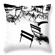 Snow Picnic Throw Pillow by Diana Angstadt
