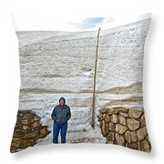 Snow Piles At Alpine Visitor's Center In Rocky Mountain National Park-colorado Throw Pillow