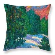 Snow Pines Throw Pillow