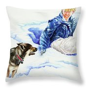 Snow Play Sadie And Andrew Throw Pillow by Carolyn Coffey Wallace