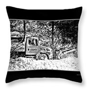 Snow Plow In Black And White Throw Pillow