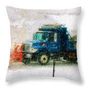 Snow Plow Painterly Throw Pillow