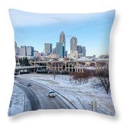 Snow Plowed Public Roads In Charlotte Nc Throw Pillow
