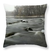 Snow Rapids Throw Pillow