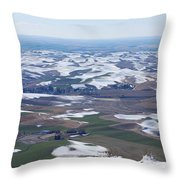 Snow Remnants On The Palouse Throw Pillow