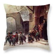 Snow Scene  Children Leaving School Throw Pillow