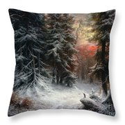 Snow Scene In The Black Forest Throw Pillow