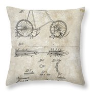 Snow Shoe Attachment For Bicycles Patent 1896 Throw Pillow
