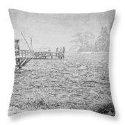 Snow Storm In Bass Harbor On Mount Desert Island Maine Throw Pillow