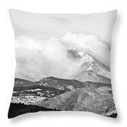 Snow Storm On The Twin Peaks Longs And Meeker Throw Pillow
