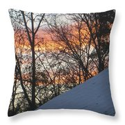 Snow Sunset Throw Pillow