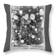 Snow Time Holly Michigan Throw Pillow