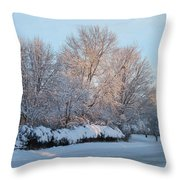 Snow Trees Sunrise 2-2-15 Throw Pillow