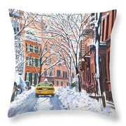 Snow West Village New York City Throw Pillow