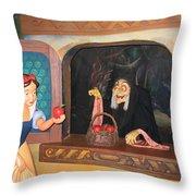 Snow White With Apple Throw Pillow