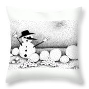 Snowball Fight Throw Pillow