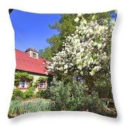 Snowball Tree In The Garden Throw Pillow
