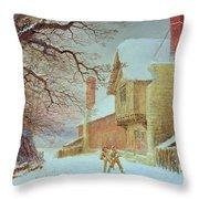 Snowballing At Tiddlington Throw Pillow