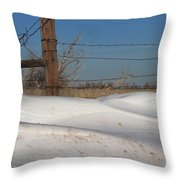 Snowbank On A Country Road Throw Pillow by Robert D  Brozek