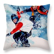 Snowboard Psyched Throw Pillow by Hanne Lore Koehler