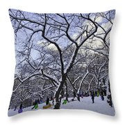Snowboarders In Central Park Throw Pillow