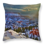 Snowbow During Winter Sunrise Bryce Canyon National Park Utah Throw Pillow