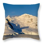 Snowcapped Mountain, Andvord Bay Throw Pillow