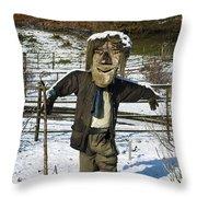 Snowcapped Scarecrow Throw Pillow