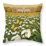Snowdrop Day, Hatfield House Throw Pillow