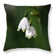 Snowdrop Duet Throw Pillow