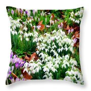 Snowdrops And Crocuses Throw Pillow