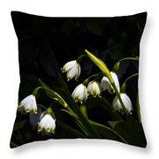 Snowdrops And Dark Background Throw Pillow