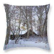Snowed Cabin Throw Pillow