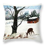 Snowfall And Visiting Doe Throw Pillow