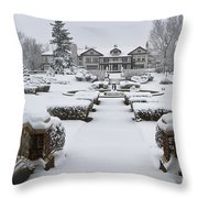 Snowfall At Longview Mansion Throw Pillow