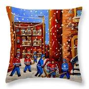 Snowfall Hockey Game Winter City Scene Throw Pillow by Carole Spandau