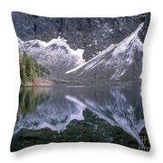 Snowfield Reflection On Blue Lake  Throw Pillow