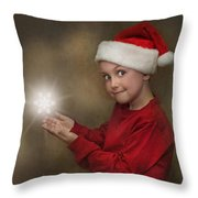 Snowflake Elf Throw Pillow by Pat Abbott