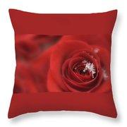 Snowflakes On A Rose Throw Pillow