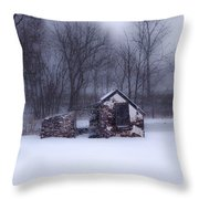 Snowing At Narcissa Road Springhouse Throw Pillow