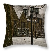 Snowing At Stokesay Castle Throw Pillow